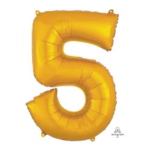 Palloncino numero 5 oro SuperShape 1 pezzo