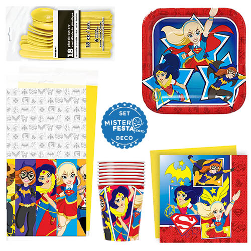 Set festa DC Super Hero Girls 8 invitati