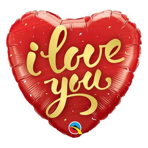 Palloncino cuore rosso scritta oro I Love You 45 cm 1 pezzo