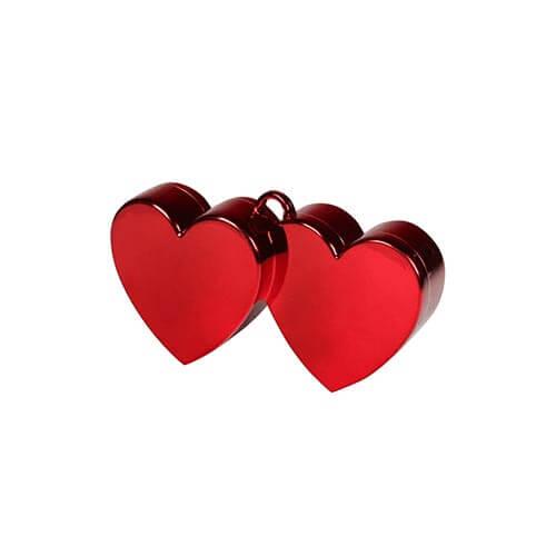 Pesino cuore doppio rosso per ancorare palloncini 1 pezzo