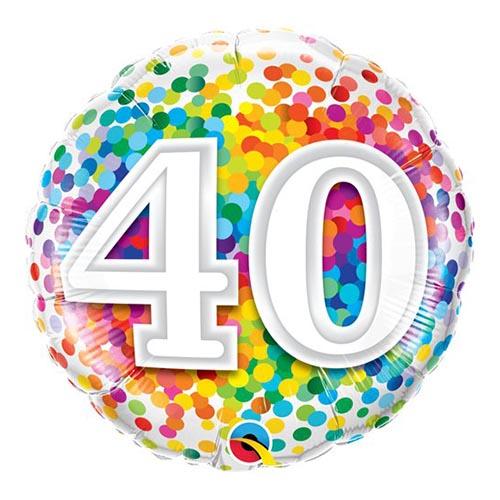 Set palloncini 40esimo compleanno arcobaleno 14 pezzi
