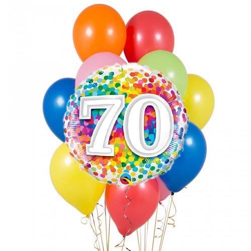 Set palloncini 70esimo compleanno arcobaleno 14 pezzi