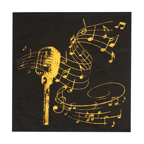 Tovaglioli note musicali nero e oro piccoli 20 pezzi