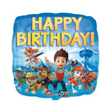 Palloncino Paw Patrol compleanno scritta happy BDay 45 cm 1 pezzo