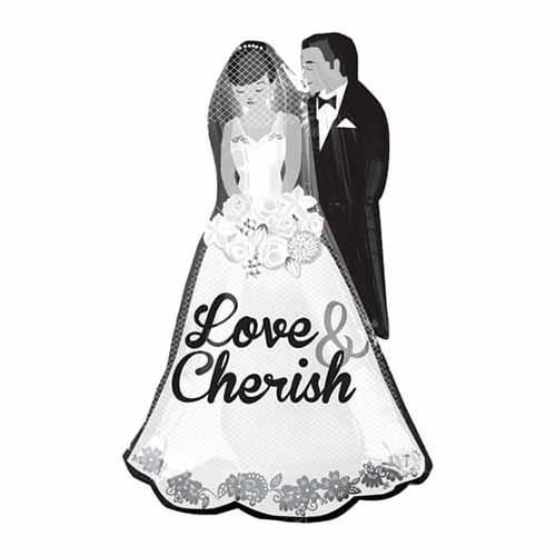 Palloncino coppia sposi scritta Love Cherish SuperShape 1 pezzo