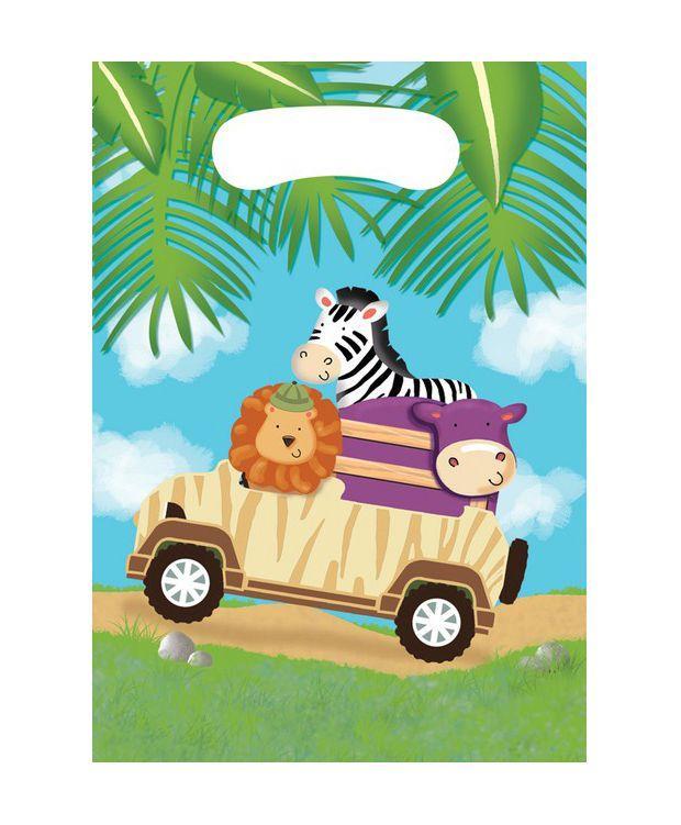 Bustine Safari per regali fine festa 8 pezzi