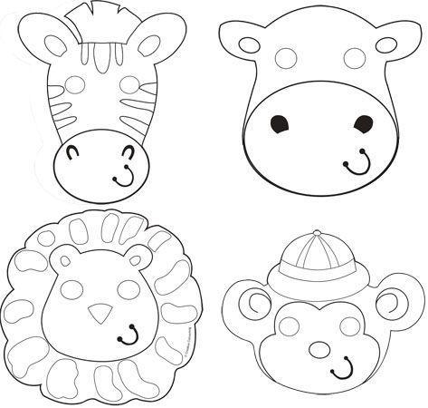 Maschere Safari da colorare 4 pezzi