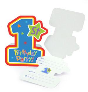 Inviti festa primo compleanno bambino scritta1st BDay H&S Boy e buste 8 pezzi