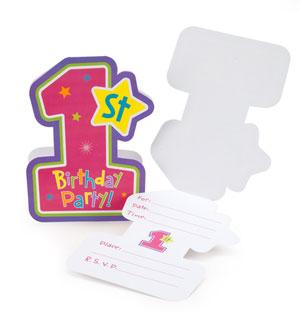Inviti festa primo compleanno bambina scritta1st BDay H&S Girl e buste 8 pezzi