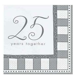 Tovaglioli anniversario con scritta 25th anniversary 16 pezzi