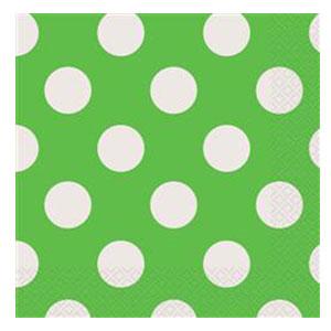 Tovaglioli verde lime pois bianco 16 pezzi