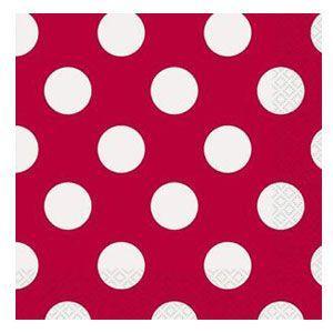 Tovaglioli rosso pois bianco 16 pezzi