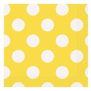 Tovaglioli giallo pois bianco 16 pezzi
