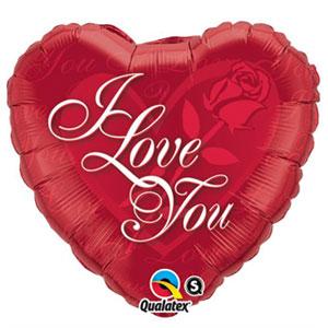 Palloncino cuore con rosa scritta I Love You 45 cm 1 pezzo