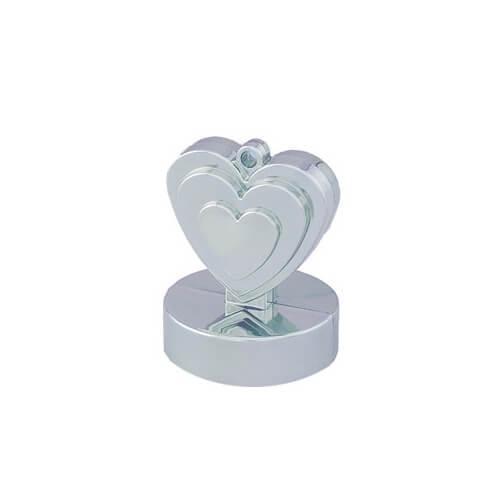 Pesino cuore argento per ancorare palloncini 1 pezzo
