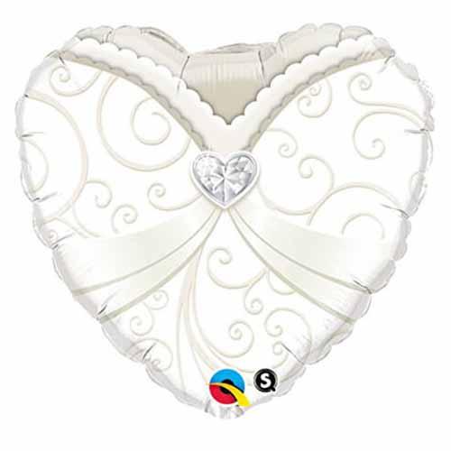 Palloncino cuore abito sposa 45 cm 1 pezzo