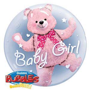 Palloncino orsetto bambina scritta Baby Girl Double-Bubble 61 cm 1 pezzo
