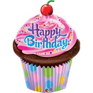 Palloncino cupcake glassato compleanno scritta happy BDay UltraShape 1 pezzo