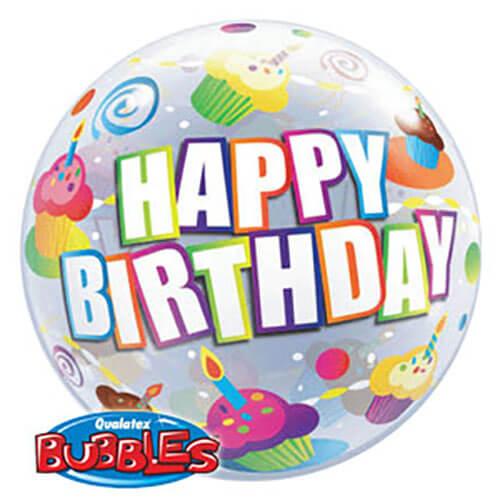 Palloncino cupcake compleanno assortiti scritta happy bday Bubble 56 cm 1 pezzo
