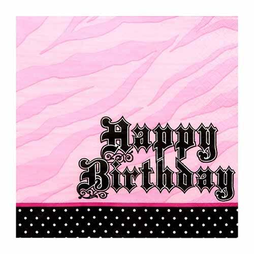 Tovaglioli Zebra rosa 16 pezzi