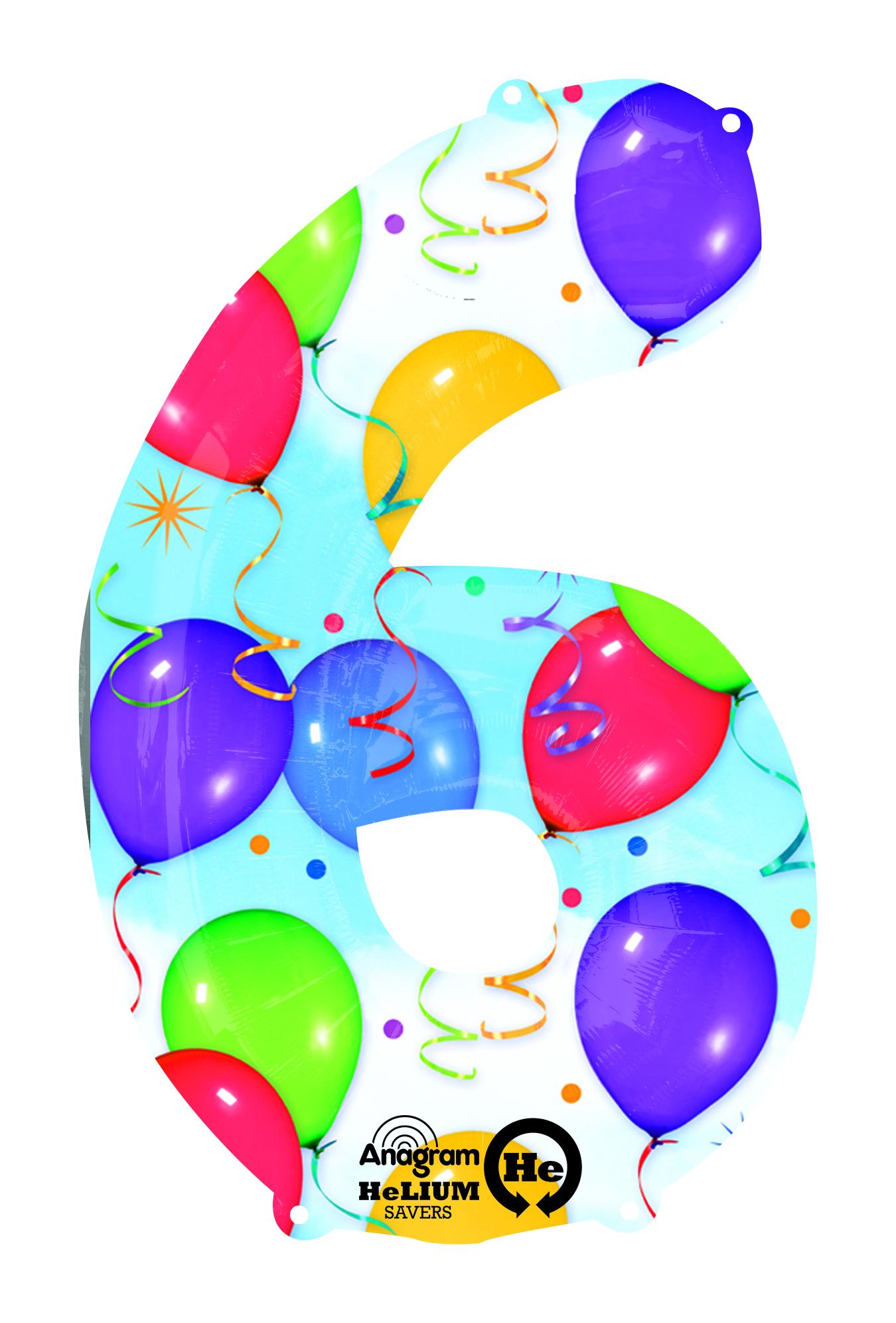 Palloncino numero 6 fantasia festa NumberShape 1 pezzo