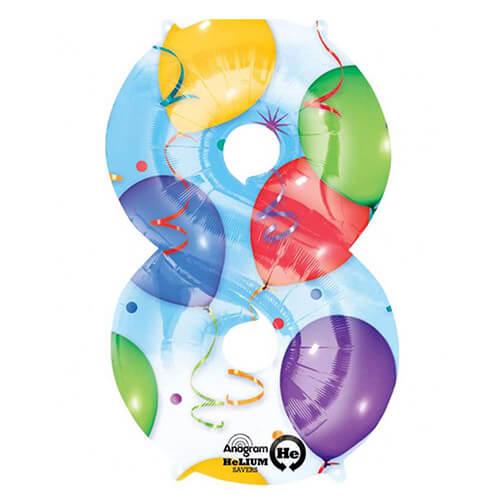 Palloncino numero 8 fantasia festa NumberShape 1 pezzo
