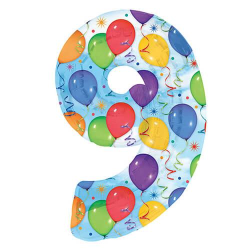 Palloncino numero 9 fantasia festa NumberShape 1 pezzo