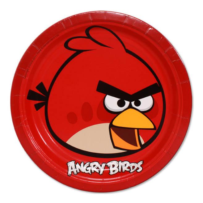 Piatti Red Angry Birds grandi 8 pezzi