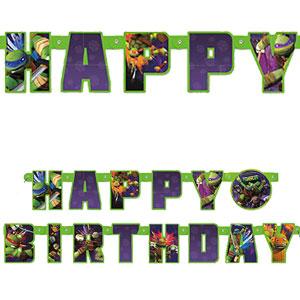 Festone Tartarughe Ninja per compleanno scritta happy BDay 1 pezzo
