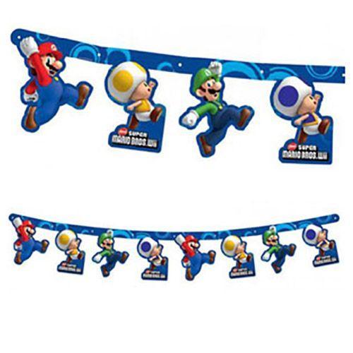 Festone Super Mario Bros per compleanno scritta happy BDay 1 pezzo