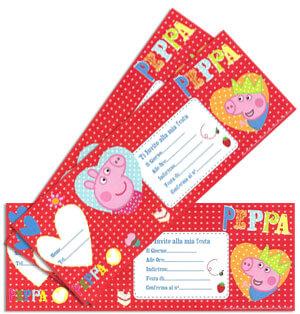 Inviti festa Peppa Pig in blocchetto 20 pezzi